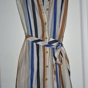 NWT lovely button up striped summer SHIRT DRESS